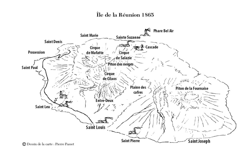Carte île de la Réunion-A l'ombre des sucrières-T6 des Enquêtes du Capitaine Allonfleur-Irène Chauvy-Gaelis Editions
