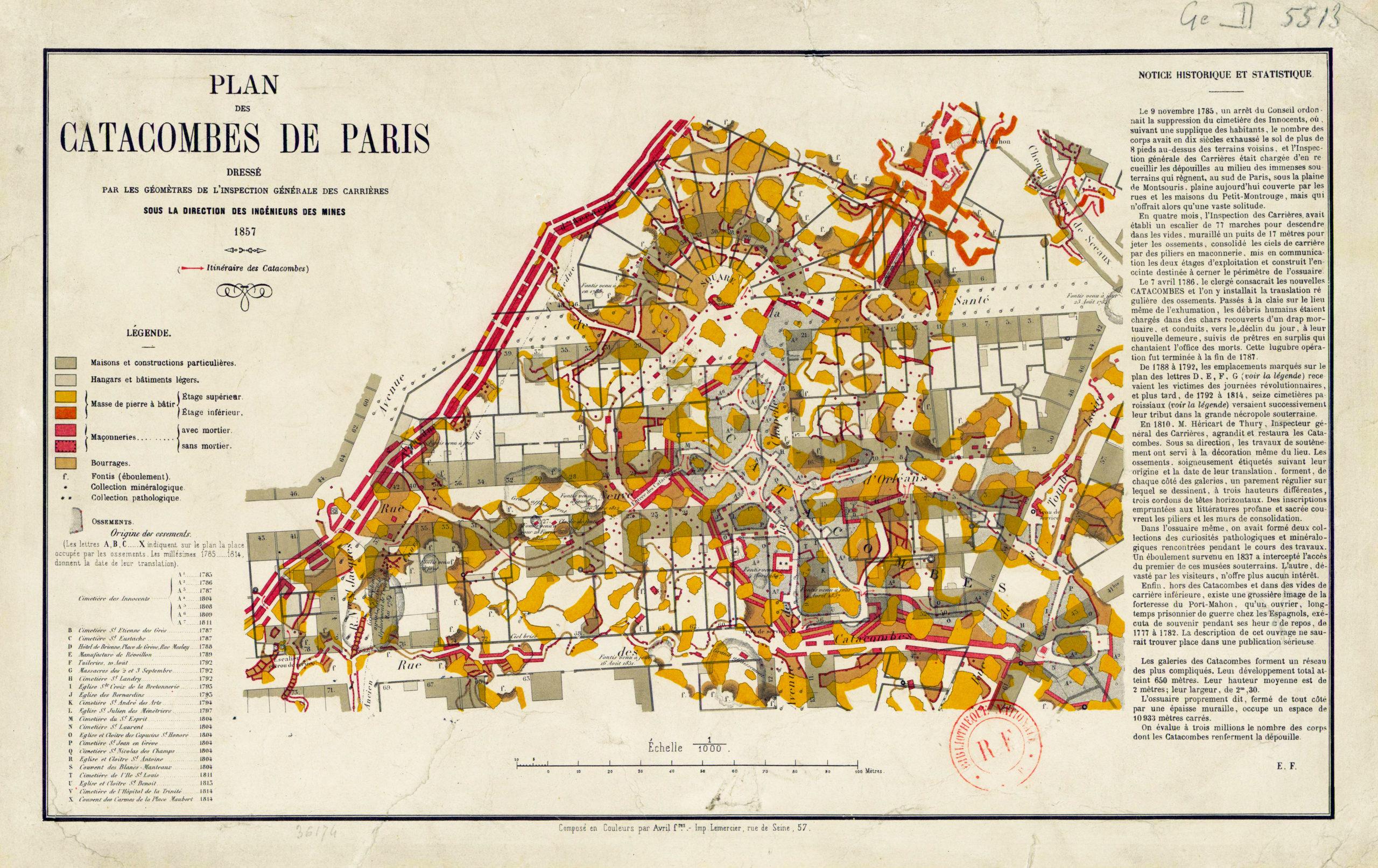 Plan_catacombes_paris_1857_Gaelis Éditions
